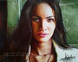megan fox ballpointpen drawing by Arthur T. Cortez by ATCdrawings
