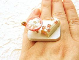 Cream Pink Roll Cake Ring by souzoucreations
