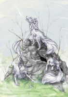 The white wolves by tikopets