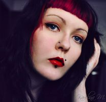 self portrait with red lips by blooding