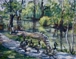Geese in the Park by Wulff-Arts