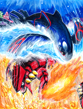 Kyogre VS Groudon by Pixelated-Takkun