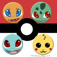 Starter Pokemon Buttons by mikadove