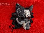Regal Dire Wolf silver on black leather by merimask