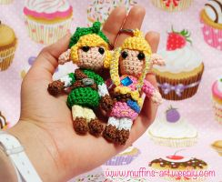 Link and zelda amigurumi keychains by TheArtOfMuffin