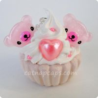 Double Bear Cupcake Necklace by CatNapCaps