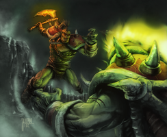 Hellscream VS Mannoroth by Jan-ilu