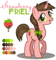 Strawberry Pixel Reference Sheet - MLP OC- by CaitieBerry