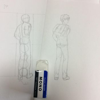 wip second character for the school hallway piece by ElainyasValley