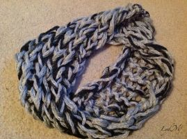 Arm Knitting Dewdrops and Links Infinity Scarf by LydMc