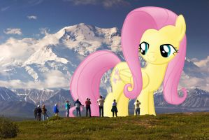 Taking in the View -Giant Fluttershy at Denali by FlutterbatIsMagic