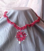 Tatted Necklace on Chain by Dorothy-T-Rose