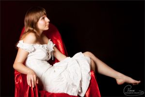 Sitting with a white dress by colorful-beauties