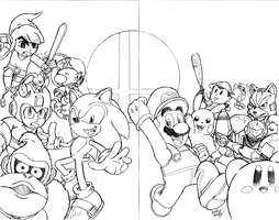 Super Smash Bros. Sketch Cover(2-Page Wrap Around) by Th3AntiGuardian