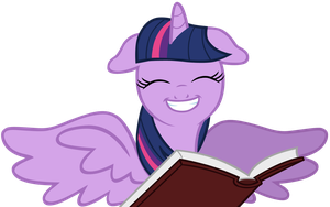 Happy Twilight Sparkle with book by SilverMapWolf