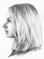 Portrait of girl in profile by TsyganEduard