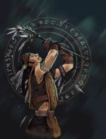 Tribal Warrior - questingraven by The-Mirrorball-Man