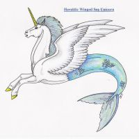 Heraldic Winged Sea Unicorn by Shara-Moonglow