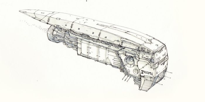 Space-freighter-sketch by sillikone