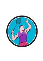 Badminton Player Racquet Striking Circle Cartoon by apatrimonio