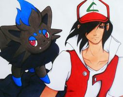 Request: Ash and Zorua by toegetic