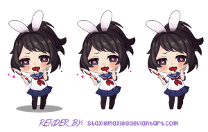 Chibi Bunny Yandere-chan Render w/ 3 ver. by staxiemaxie