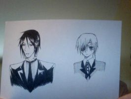 Sebastian and Ciel busts by DuplicitousDichotomy
