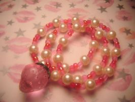 pink strawberry bracelet set by leggsXisXawsome