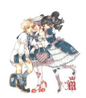 Lolita and Kodona - Sailor style by m-aruka