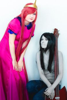 Marceline and Princess Bubblegum cosplay by SheraRut