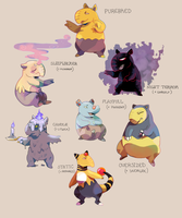 Drowzee variations by megadinkloid