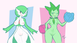 Gardevoir and Roselia Pinups by xerpentv