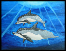 Two Dolphins in Acrylic by Gazzelles