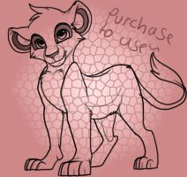 Adoptable Lineart-lion cub- by Kitchiki