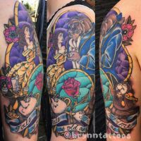 Beauty and the Beast Half Sleeve by brynntattoos