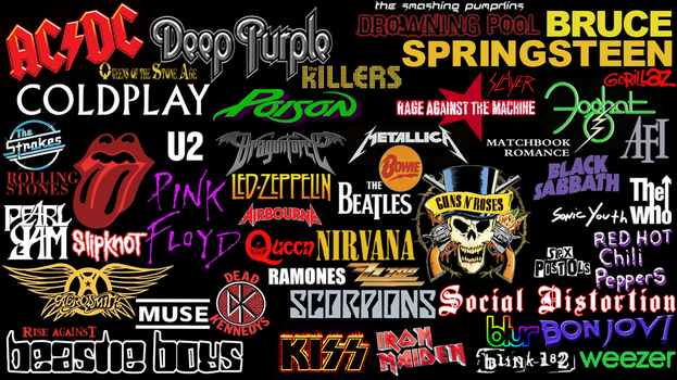 Rock groups logos collage by Superbrogio