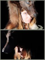 Shifter - Blind Black Wolf Headdress by NaturePunk