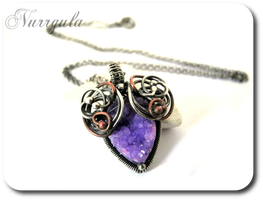 Purple Quartz druzy necklace made of Silver Copper by nurrgula