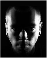 head shot bw by psychodelic-candy