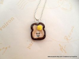 Kawaii Buttered Toast Necklace by AnyaZoe
