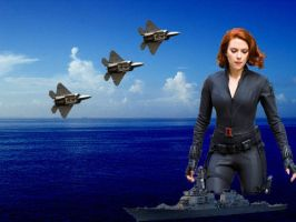 BLACK WIDOW AGENT OF SHIELD NOW GODDESS OF THE SEA by darthbriboy