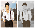 LOK: Mako- In Suspenders (Colored n Greyscale) by ButterflyMelodyFox