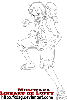 Lineart Luffy by fkdsg