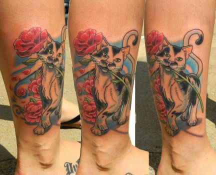 Cat with Camellia Flowers by Sirius-Tattoo