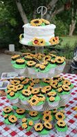 Sunflower Anniversary Cupcakes by picworth1000wrds