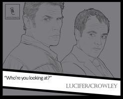 Supernatural - Lucifer/Crowley | line art by noctemus