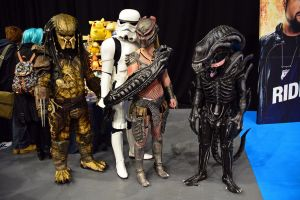Predator, Alien, Machiko and Stormtrooper by masimage
