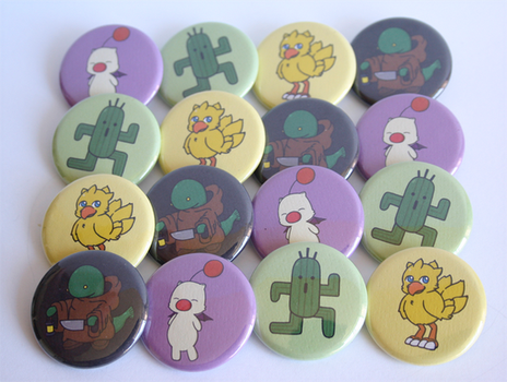 Final Fantasy Mascots Button Set by ThePockyGirl