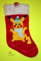 Pikachu Stocking (Winter Outfit 2) by MeMiMouse