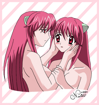 Lucy and Nyu -Elfen Lied- by Narime-chan